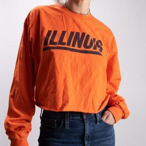 Vintage Cropped Long Sleeve Illinois T-shirt